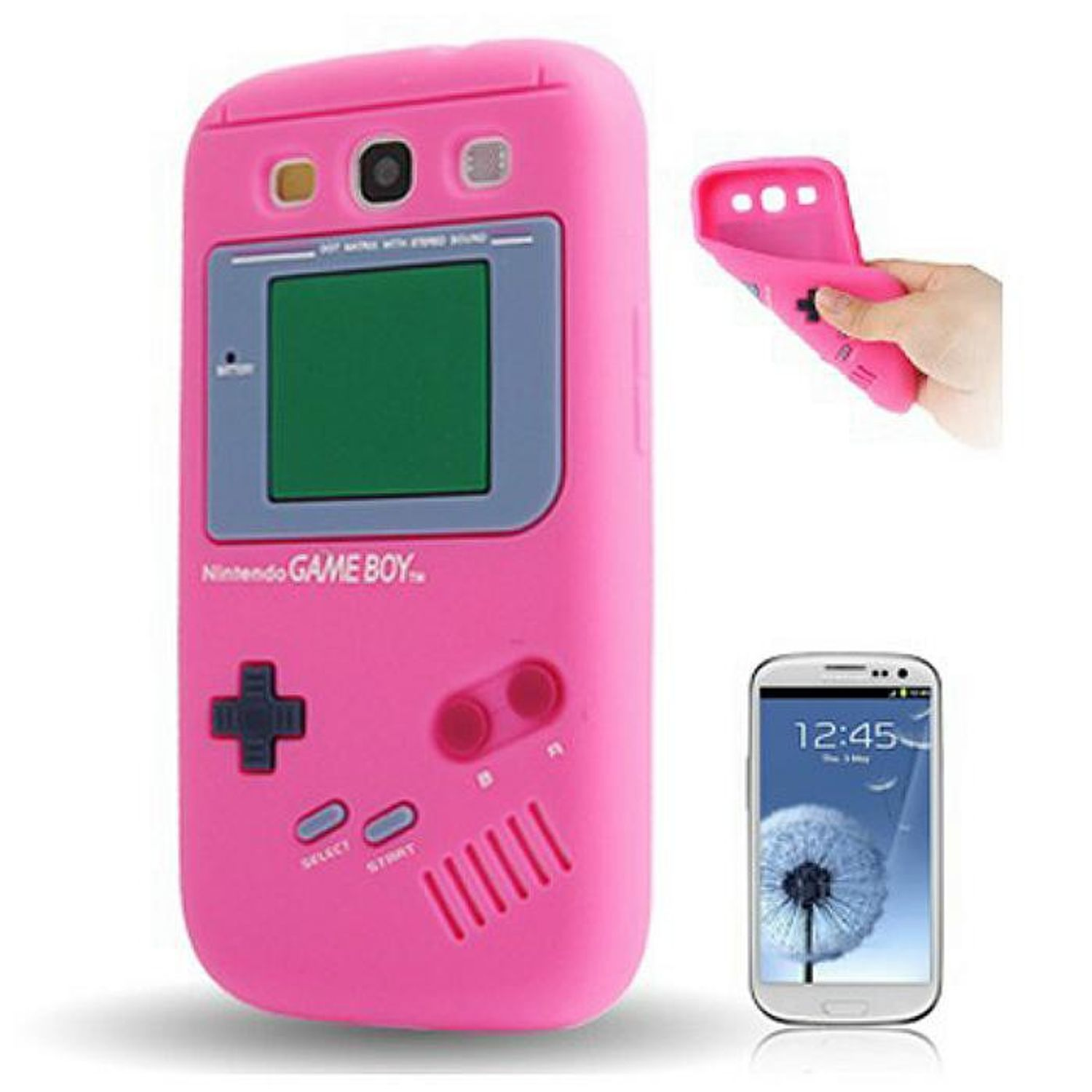 Silikon Hülle Gameboy für Handy Samsung I9300 Galaxy S3 Pink