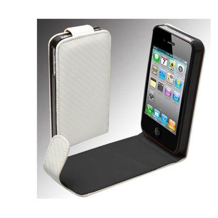 Handy Tasche Flip dünn Carbon Look für Handy iPhone 4 4S weiß