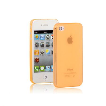 Schutzhülle Case TPU für Handy iPhone 4 & 4S transparent/orange