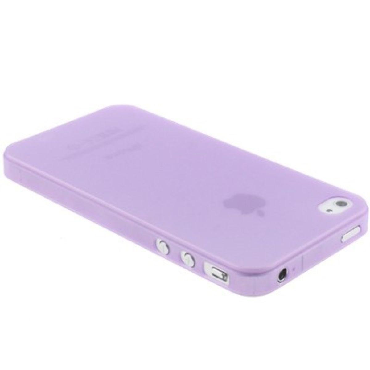 Schutzhülle Case TPU für Handy iPhone 4 / 4s Transparent / Lila