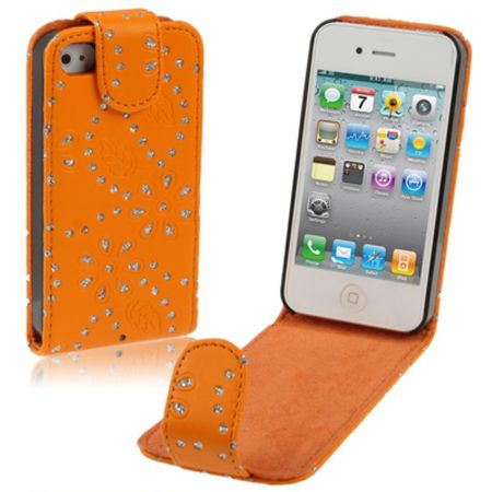 Handy Tasche Flip dünn für Handy iPhone 4 & 4S Strass orange