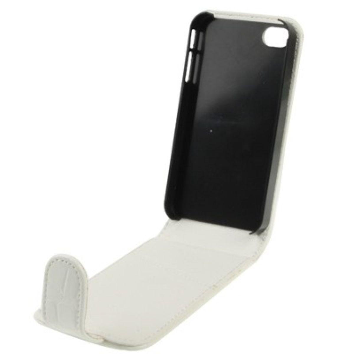 Handy Tasche Flip Krokodil Optik für Handy iPhone 4 / 4s weiß