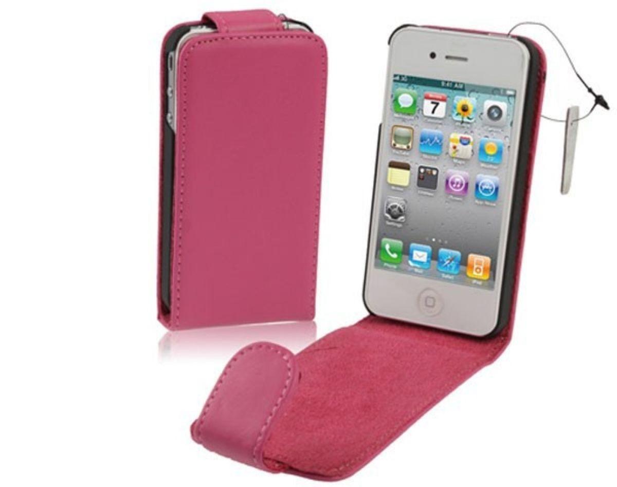 Echt Handy Tasche Flip dünn für Handy iPhone 4 / 4s Pink