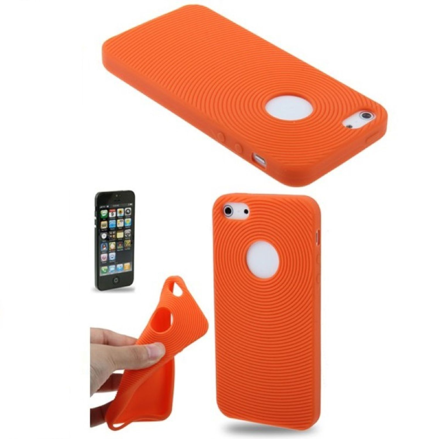 schutzh lle silikon h lle f r handy iphone 5 5s orange. Black Bedroom Furniture Sets. Home Design Ideas