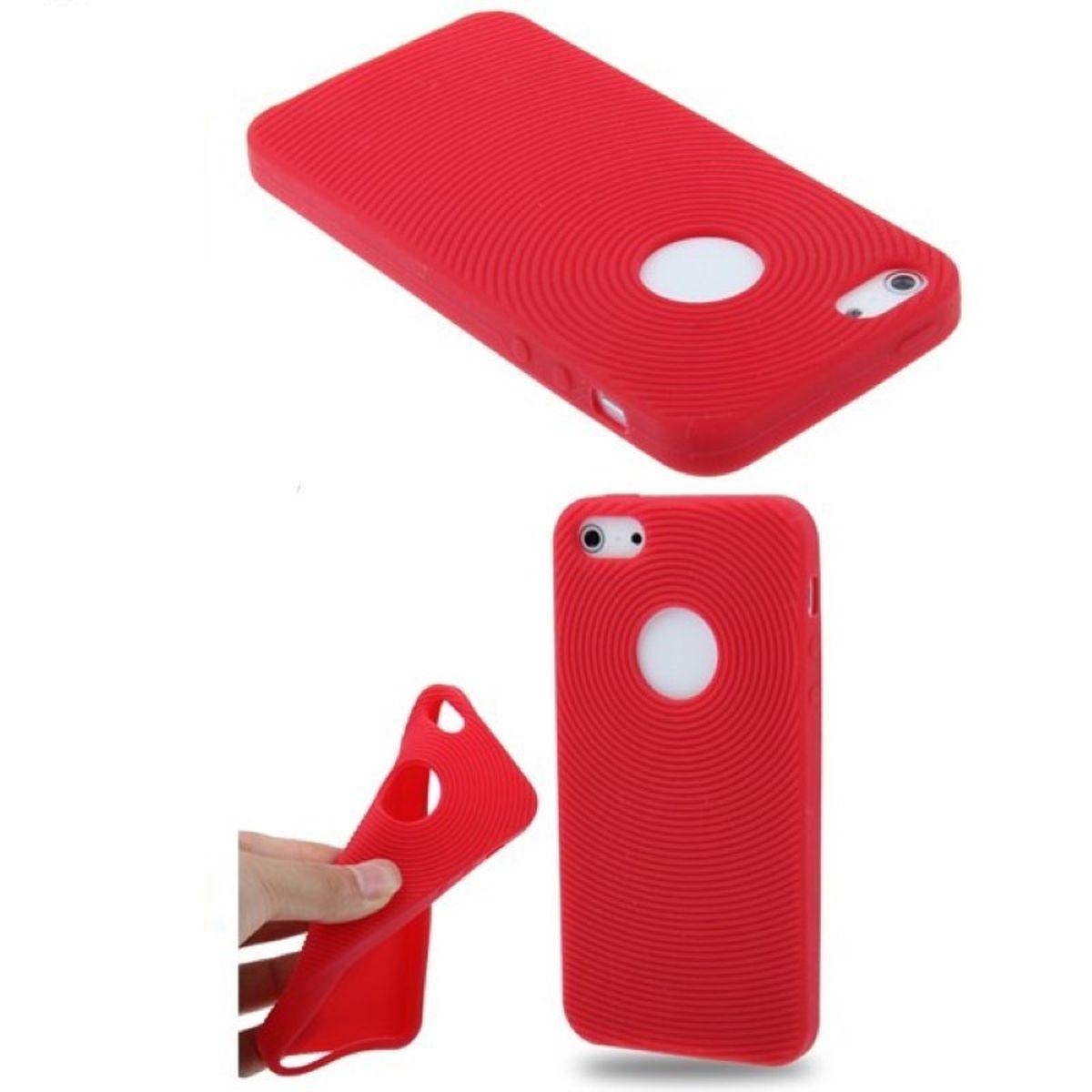Schutzhülle Silikon Hülle für Handy iPhone 5 / 5s Rot