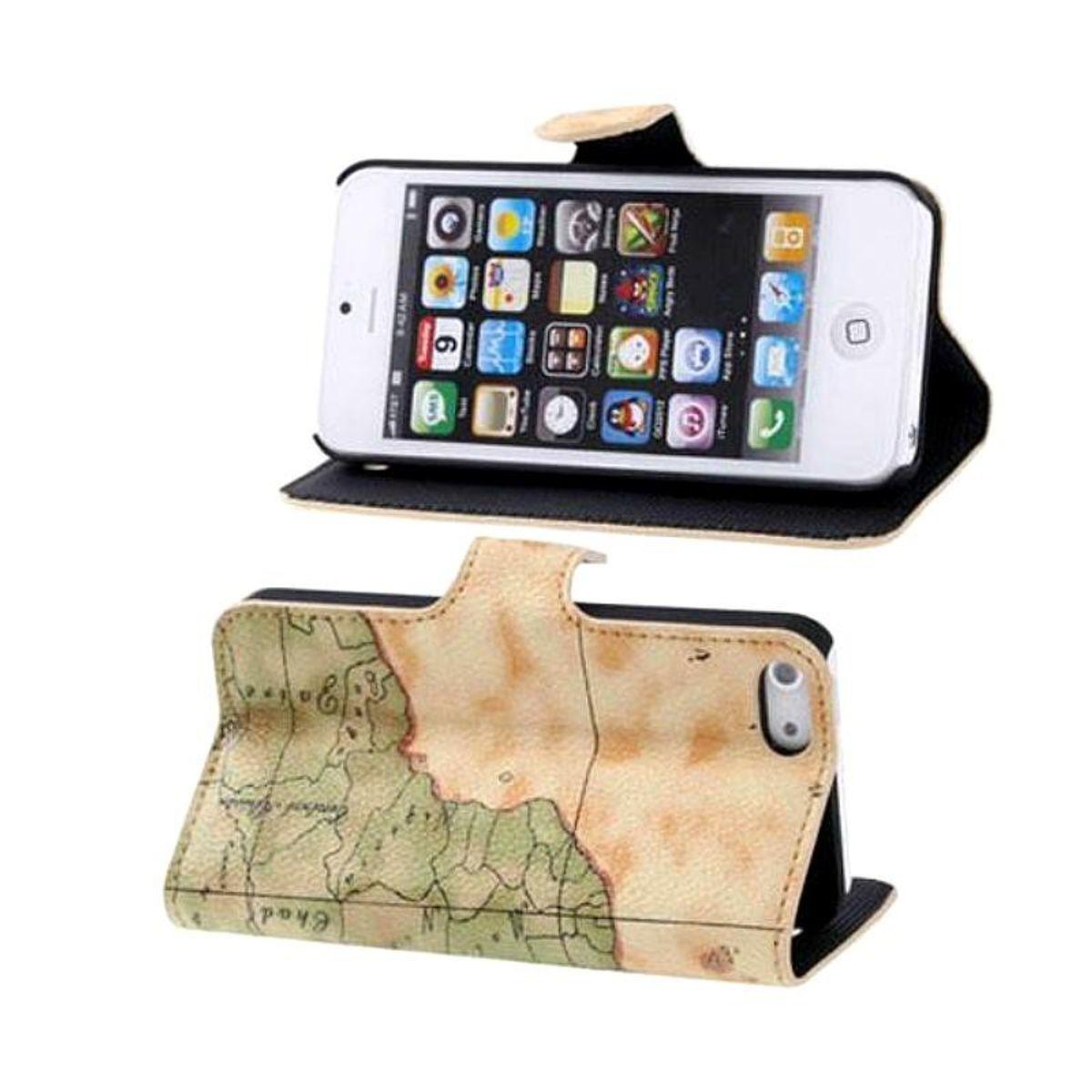 Schutzhülle Handytasche (Flip Quer) für Handy iPhone 5 / 5s Karte