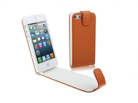 Handy Tasche Flip dünn für Handy iPhone 5 & 5s Orange