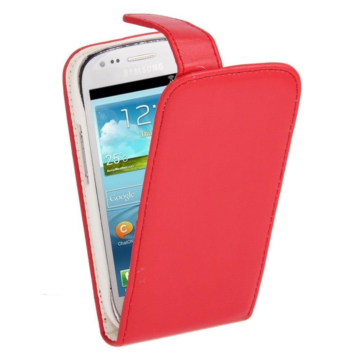 Schutzhülle Handy Tasche Flip für Samsung Galaxy S3 mini i8190 / i8195 / i8200 Rot