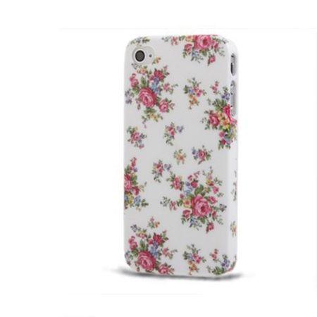 Schutzhülle Hard Case Hülle für Handy iPhone 4 & 4S Rosen / Weiß