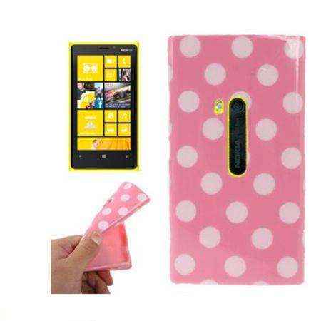 Schutzhülle TPU Case Hülle für Handy Nokia Lumia 920 Pink / Weiß