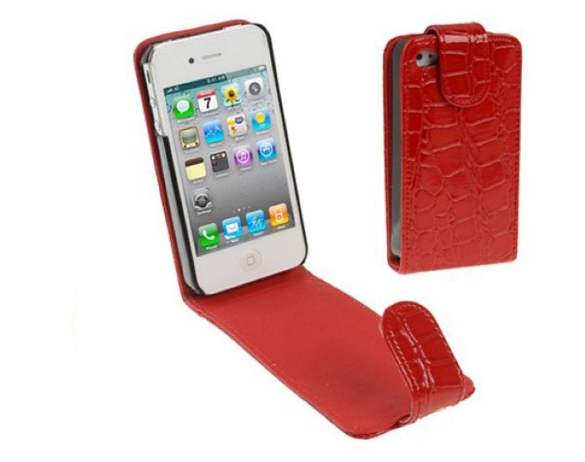 Tasche Flip Hülle Kroko für Handy Apple iPhone 4 / 4s Rot