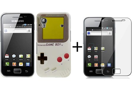 Hard Case Hülle Gameboy für Handy Samsung Galaxy Ace S5830 + Folie