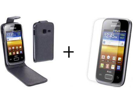 Schutzhülle Flip Tasche Samsung Galaxy Y Duos S6102 + Folie