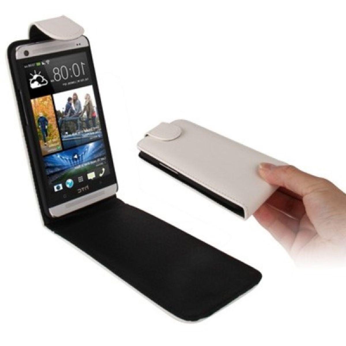Schutzhülle Flip Tasche für Handy HTC One M7 Weiß