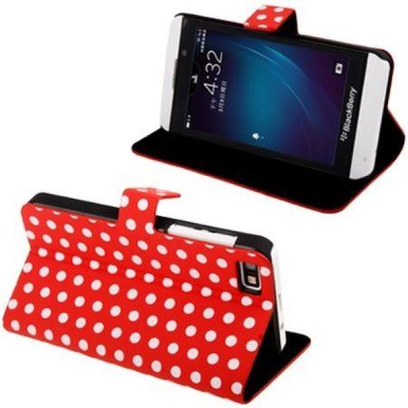 Schutzhülle Flip Hülle dünn für Handy BlackBerry Z10 Rot / Weiß
