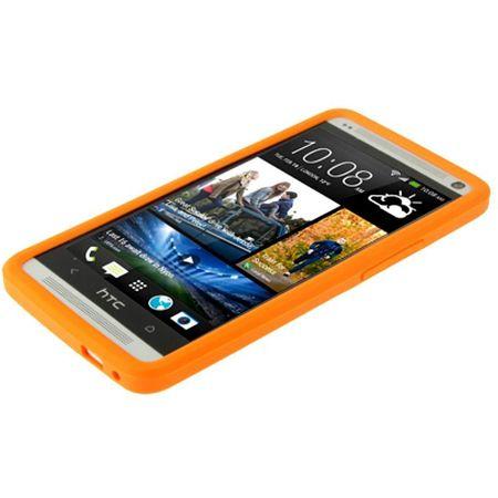 Schutzhülle Silikon Case für Handy HTC One M7 Orange – Bild 2
