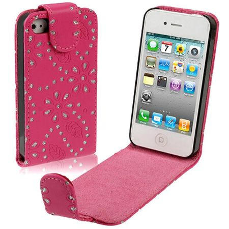 Schutzhülle Handy Case für Handy Apple iPhone 4 & 4S Strass pink