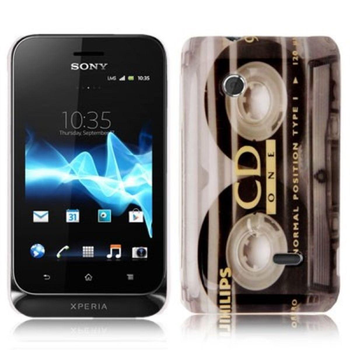 Hard Case Hülle Retro Kassette für Handy Sony Xperia Tipo Dual ST21i