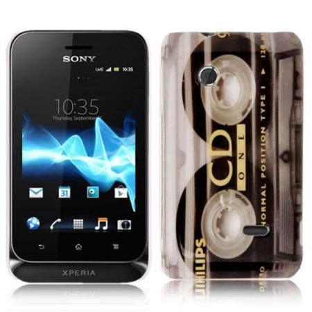 Hard Case Hülle Retro Kassette für Handy Sony Xperia Tipo Dual ST21i