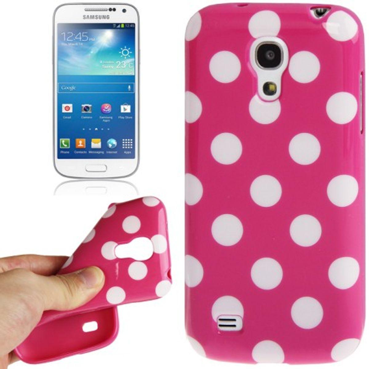 Schutzhülle Punkte TPU Case für Handy Samsung Galaxy S4 mini i9190 pink/weiss