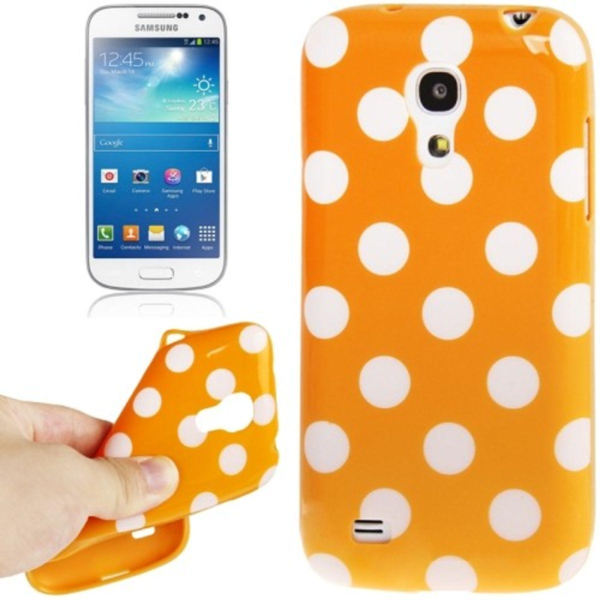 Schutzhülle Punkte TPU Case für Handy Samsung Galaxy S4 mini i9190 orange/weiss