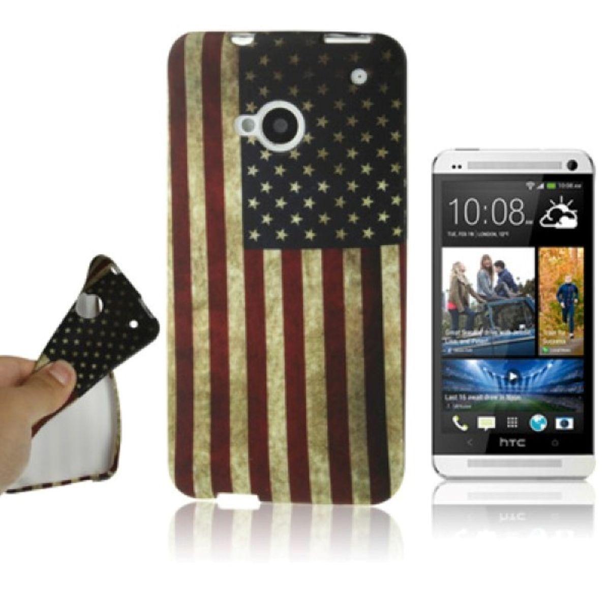 Schutzhülle Retro Fahne USA Case für Handy HTC One M7 USA