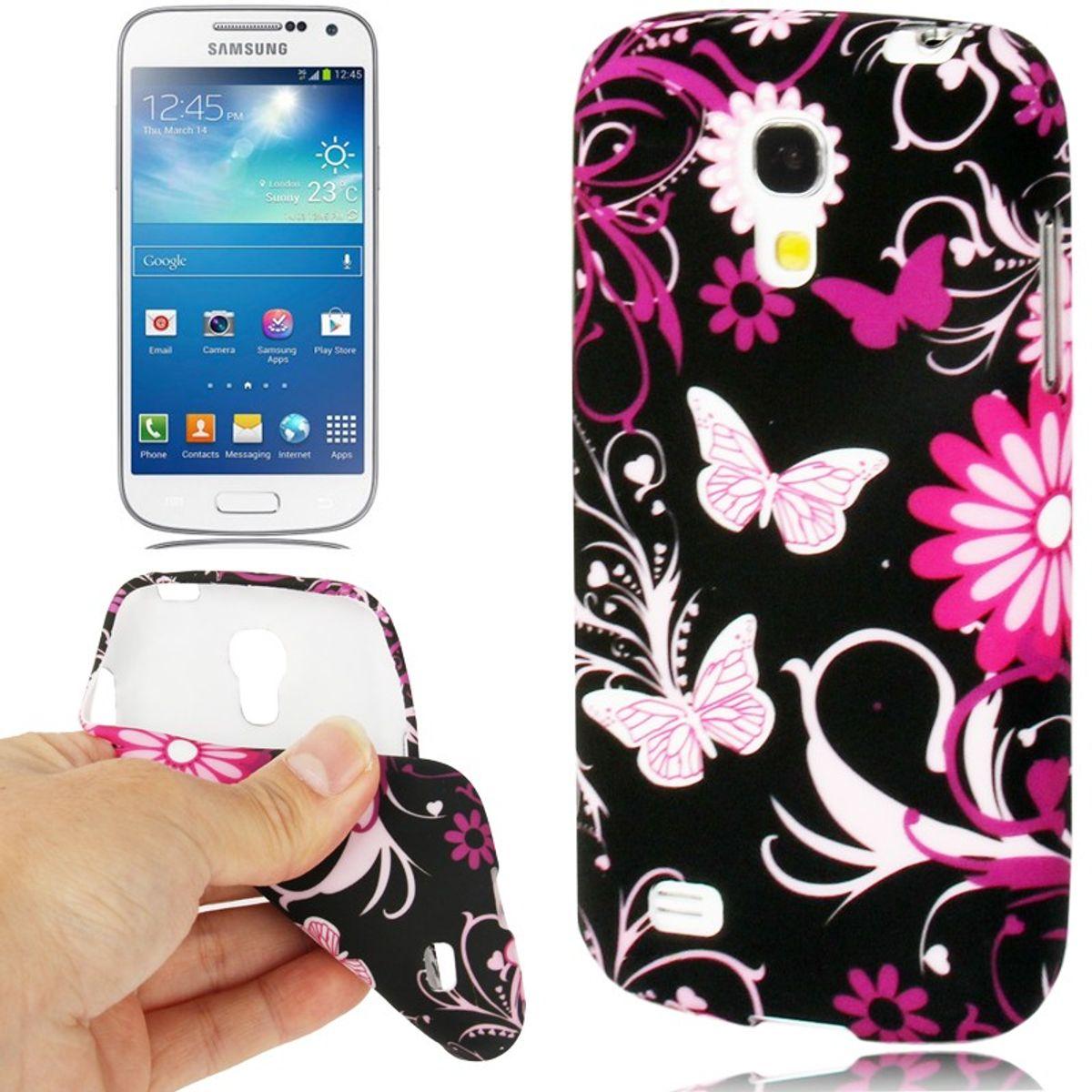 Schutzhülle TPU Case für Handy Samsung Galaxy S4 mini i9190 Schmetterling/Blume