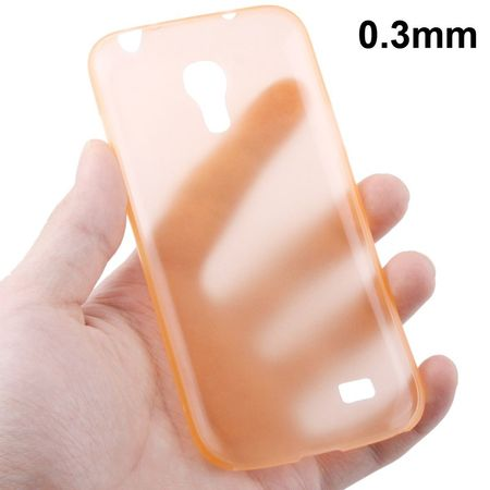 Schutzhülle Case Ultra Dünn 0,3mm für Handy Samsung Galaxy S4 mini i9190 Orange Transparent