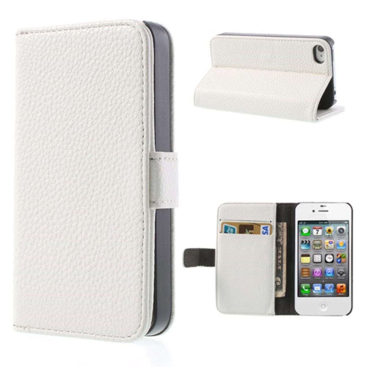 Schutzhülle Handytasche (Flip Quer) für Handy Apple iPhone 4 / 4s weiß