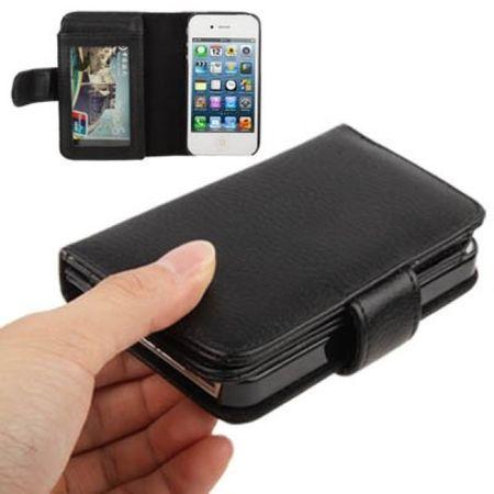 Schutzhülle Handytasche (Flip Quer) für Handy Apple iPhone 4 & 4S Portemonnaie schwarz