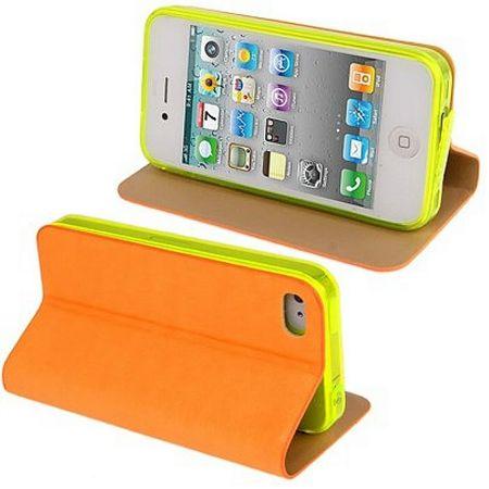 Schutzhülle Handytasche (Flip Quer) für Handy Apple iPhone 4 Orange