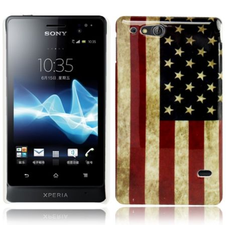 Hard Case Hülle Retro USA für Handy Sony Xperia go ST27i