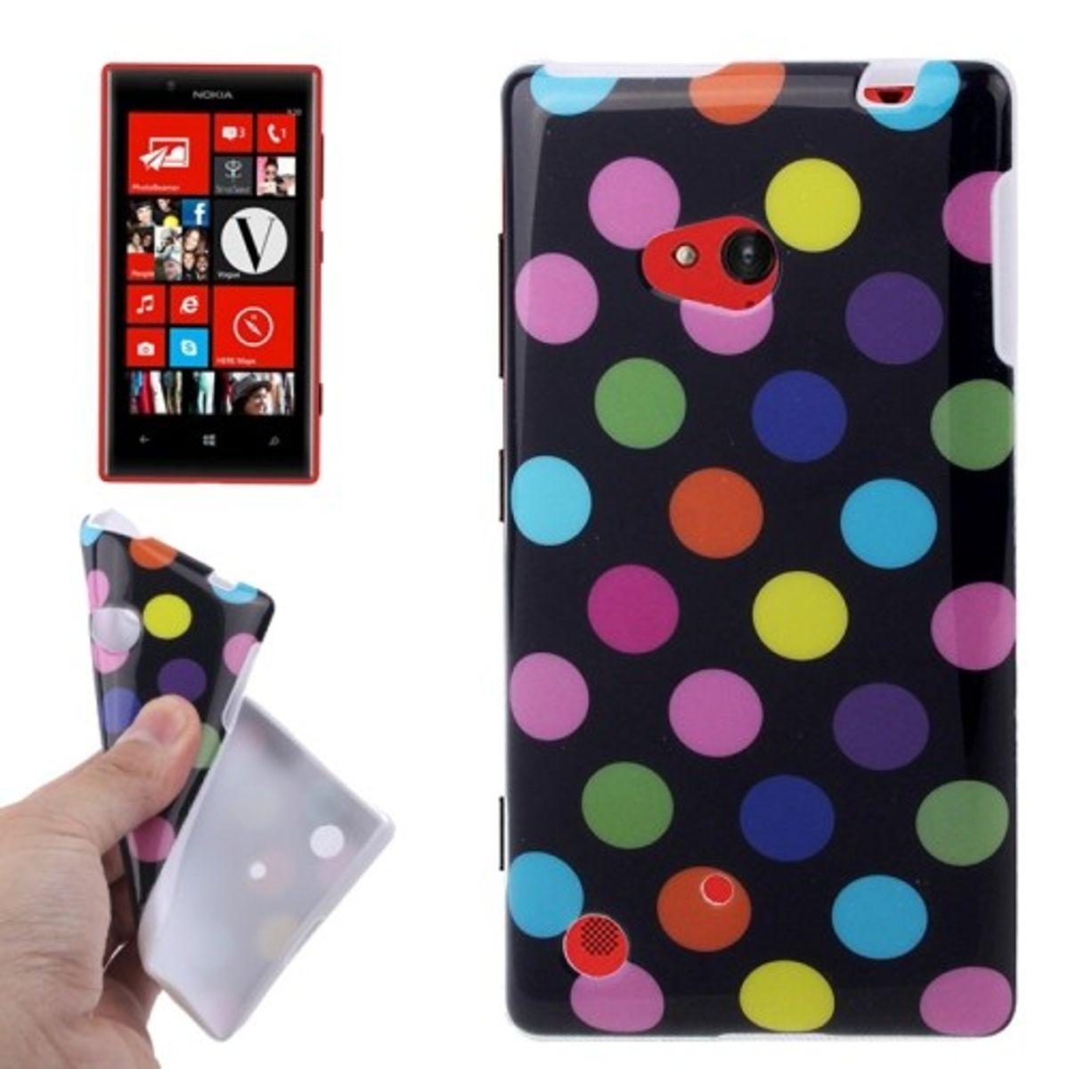 Schutzhülle TPU Case für Handy Nokia Lumia 720 Schwarz / Bunt