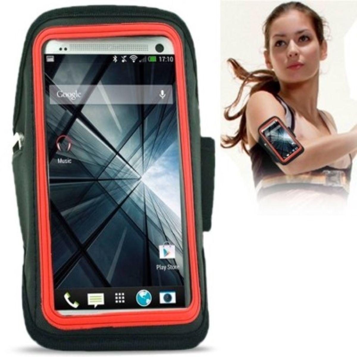 Sportarmband Tasche für Handy HTC One M7 Rot