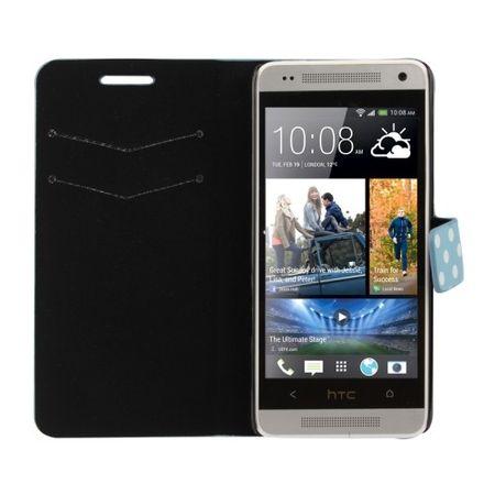 Schutzhülle Handytasche (Flip Quer) für Handy HTC One mini M4 Hellblau / Weiß – Bild 3
