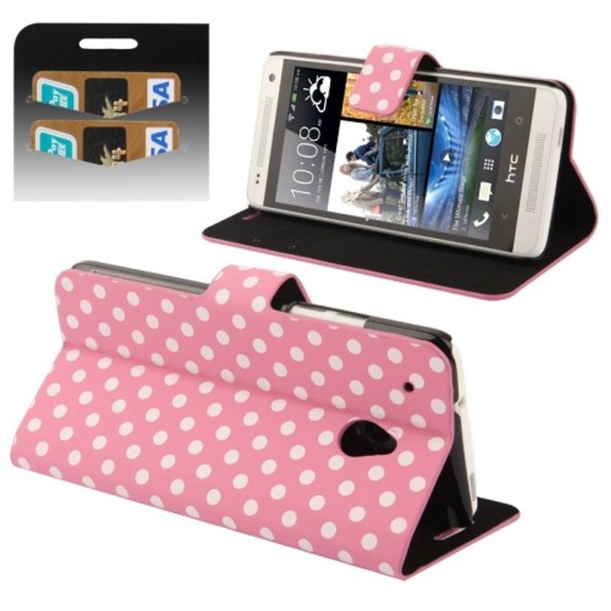 Schutzhülle Handytasche (Flip Quer) für Handy HTC One mini M4 Rosa / Weiß