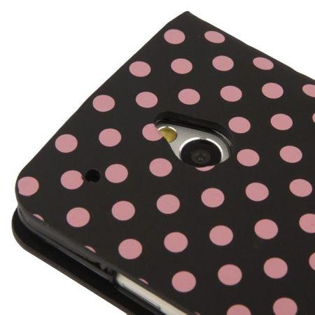 Schutzhülle Handytasche (Flip Quer) für Handy HTC One mini M4 Schwarz / Pink – Bild 5