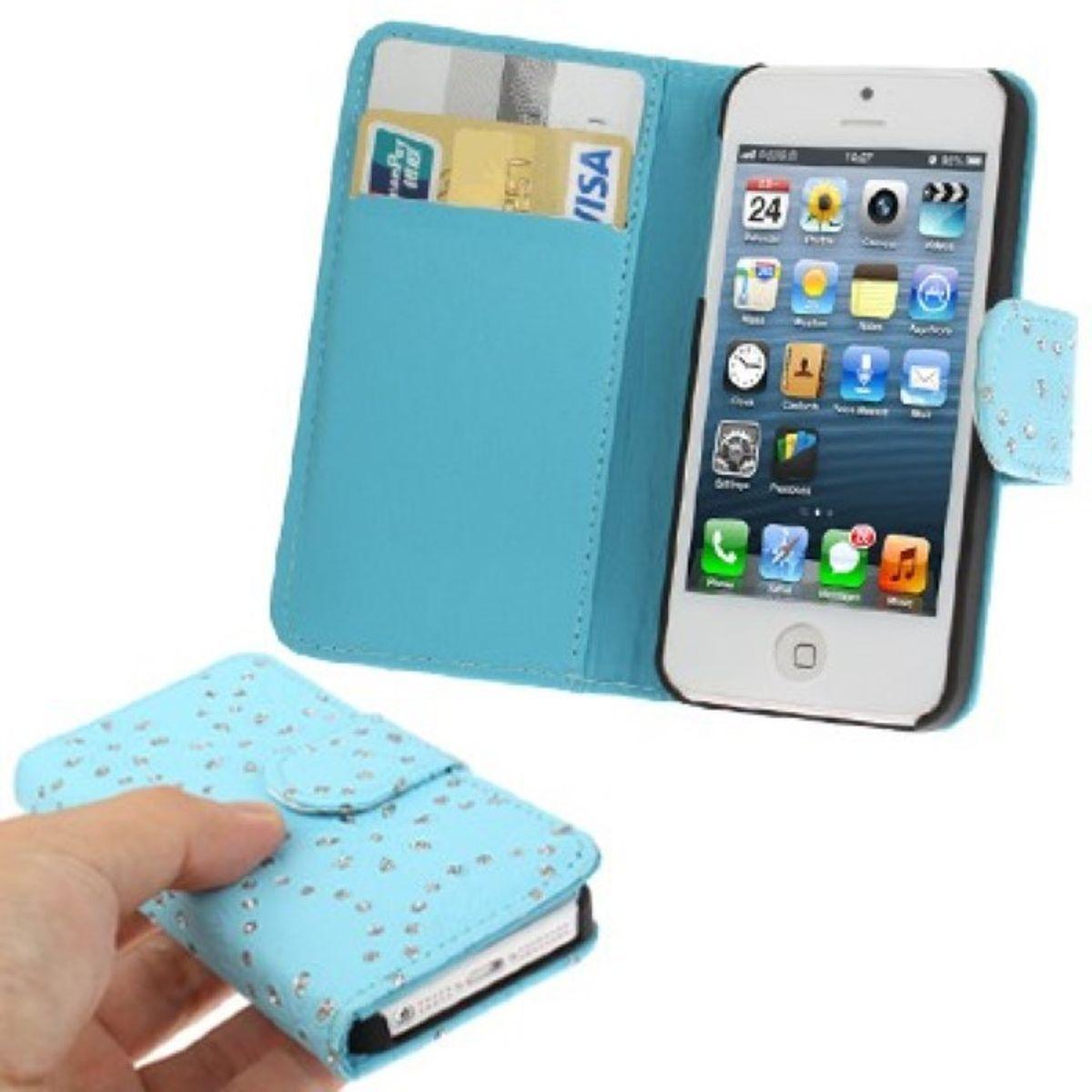 Schutzhülle (Flip Quer) für Handy Apple iPhone 5 / 5s Hellblau
