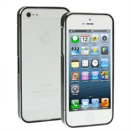 Schutzhülle Aluminium Bumper für Handy Apple iPhone 5 & 5S schwarz