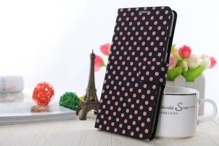 Schutzhülle Tasche (Flip Quer) für Handy Apple iPhone 6 Plus Schwarz / Pink
