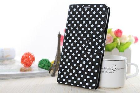 Schutzhülle Tasche (Flip Quer) für Handy Apple iPhone 6 Plus Schwarz / Weiß