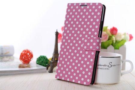 Schutzhülle Tasche (Flip Quer) für Handy Apple iPhone 6 Rosa / Weiß