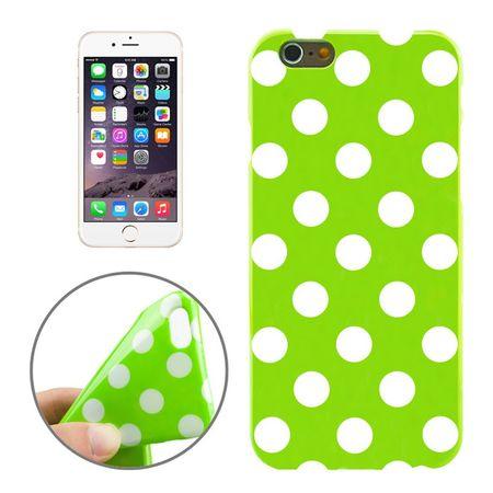TPU Backcover Hülle gepunktet für Handy Apple iPhone 6 Grün / Weiß