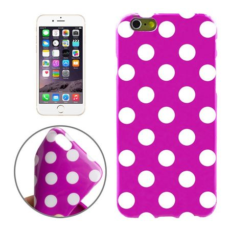 TPU Backcover Hülle gepunktet für Handy Apple iPhone 6 Lila / Violett / Weiß