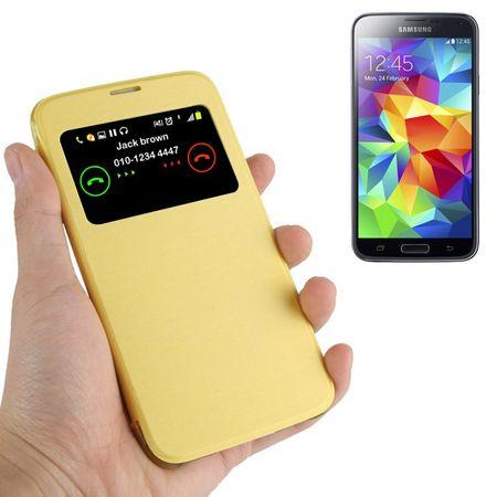 Handyhülle Tasche Flipcover mit Fenster für Samsung S5 mini / G800 Gelb