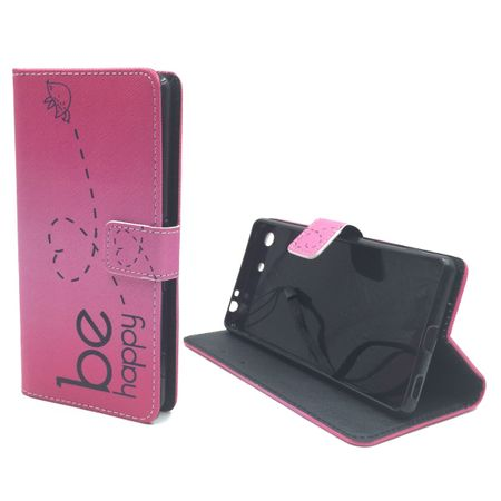 Handyhülle Tasche für Handy Sony Xperia M5 Be Happy Pink – Bild 5