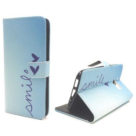 Handyhülle Tasche für Handy HTC 10 Schriftzug Smile Blau