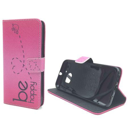 Handyhülle Tasche für Handy HTC 10 Be Happy Pink – Bild 2