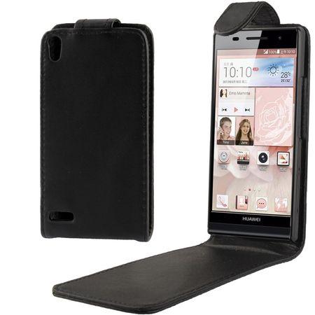 Handyhülle Tasche (Flip) für Huawei Ascend P6 schwarz