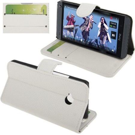 Handyhülle Horizontal Flip mit Credit Card Slots für HTC One M7 Weiss